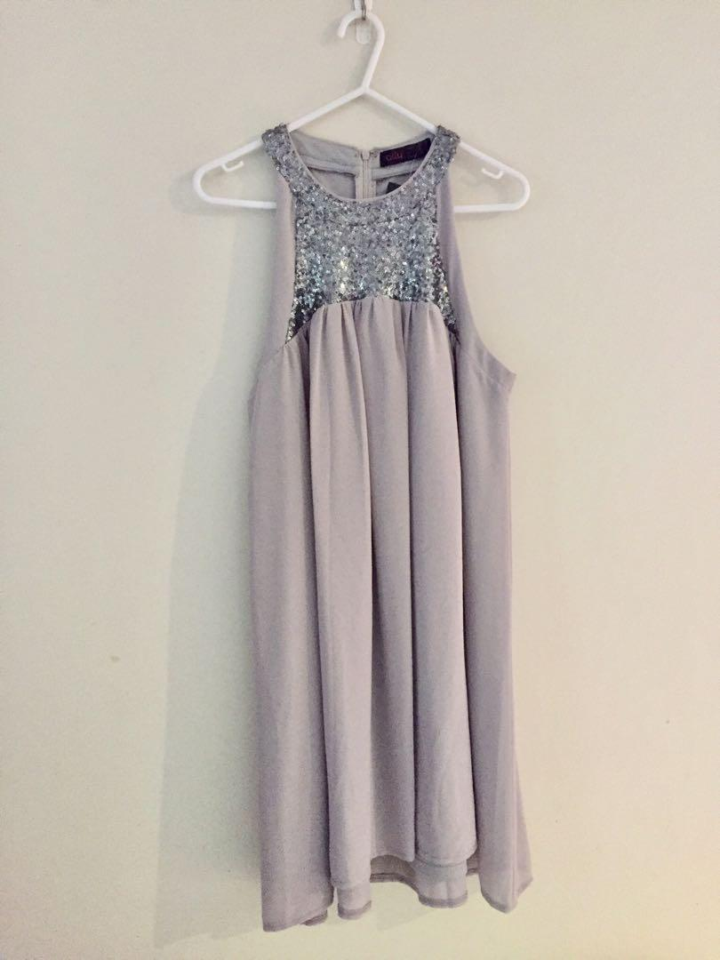Ally/Grey sequin neck chiffon trapeze dress Au size 10 with tag