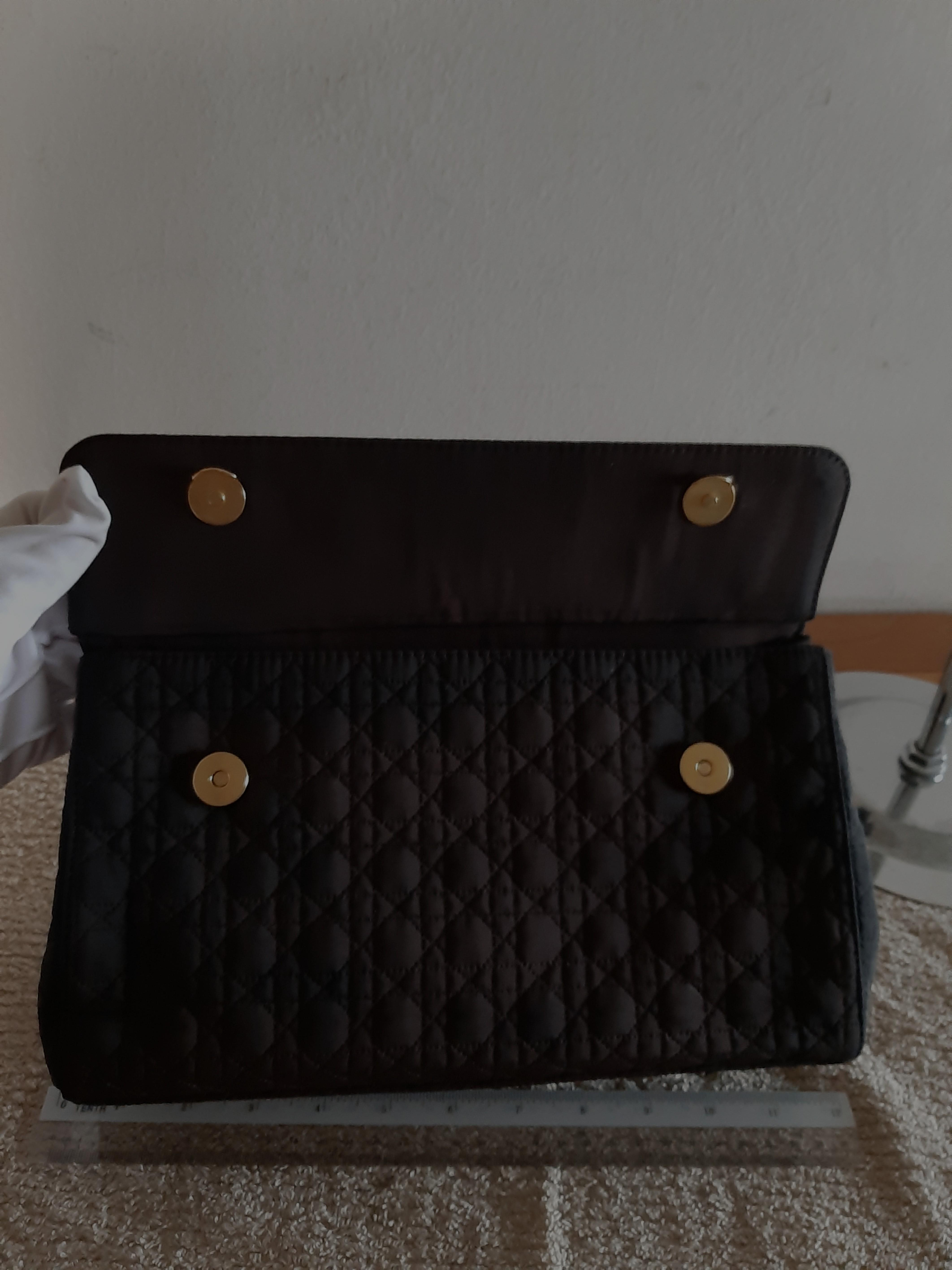 AUTHENTIC DIOR,  LADY DIOR FLAP BAG - BLACK SUEDE MICROFIBER- CLEAN INTERIOR,  SOLID SHAPE STRUCTURE- (LADY DIOR BAGS NOW RETAIL OVER RM 15,000+) -