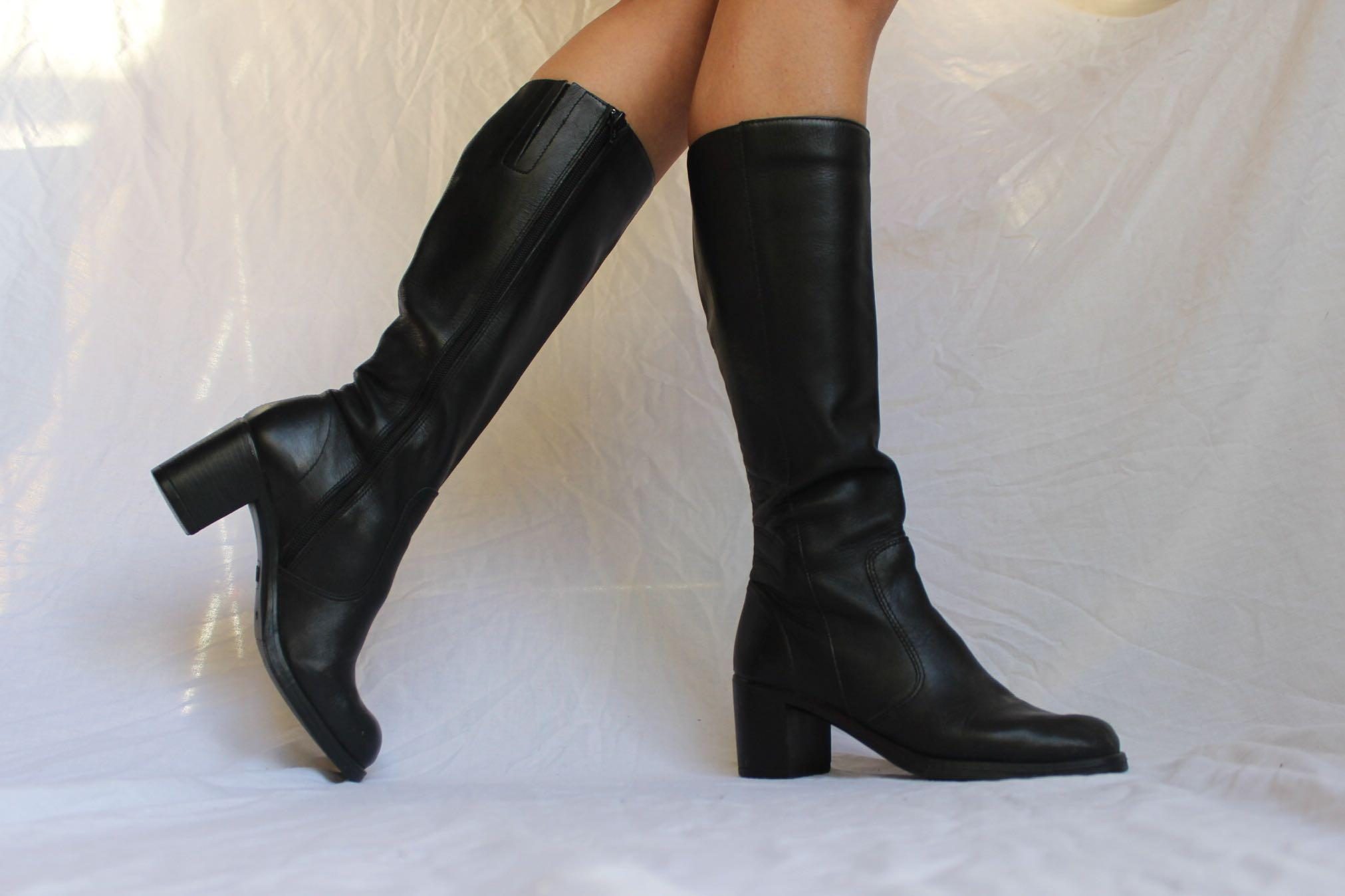 Black leather chunky block heel mid calf boots