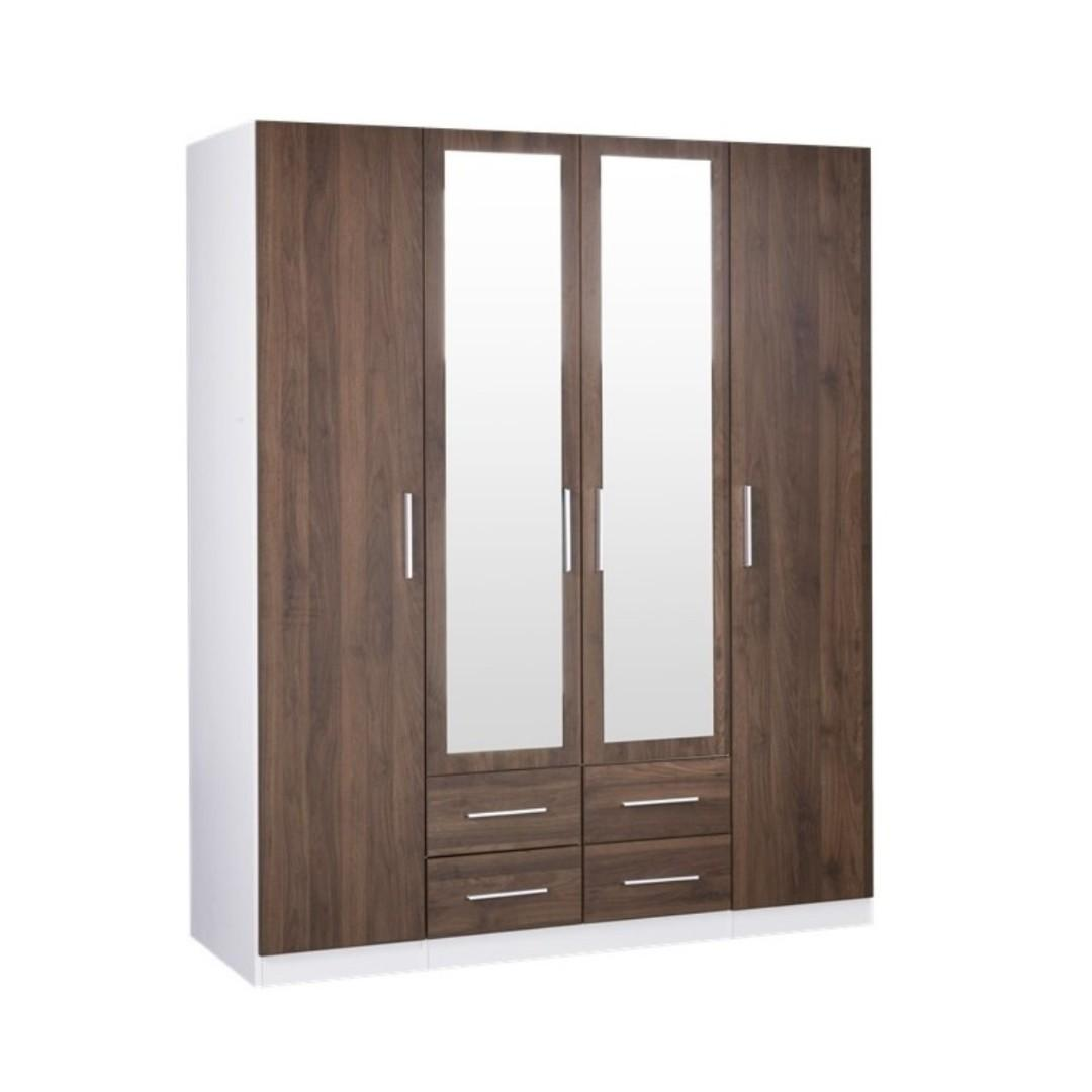 CLEARANCE SALE! ZETLAND BIG SIZE 4 DOORS WARDROBE WITH DRAWERS