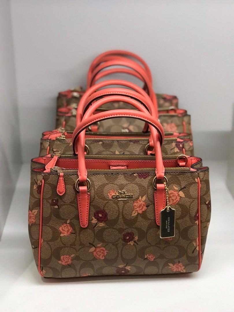 COACH MINI SURREY CARRYALL IN SIGNATURE CANVAS WITH TOSSED PEONY PRINT (KHAKI/PINK MULTI/IMITATION GOLD)