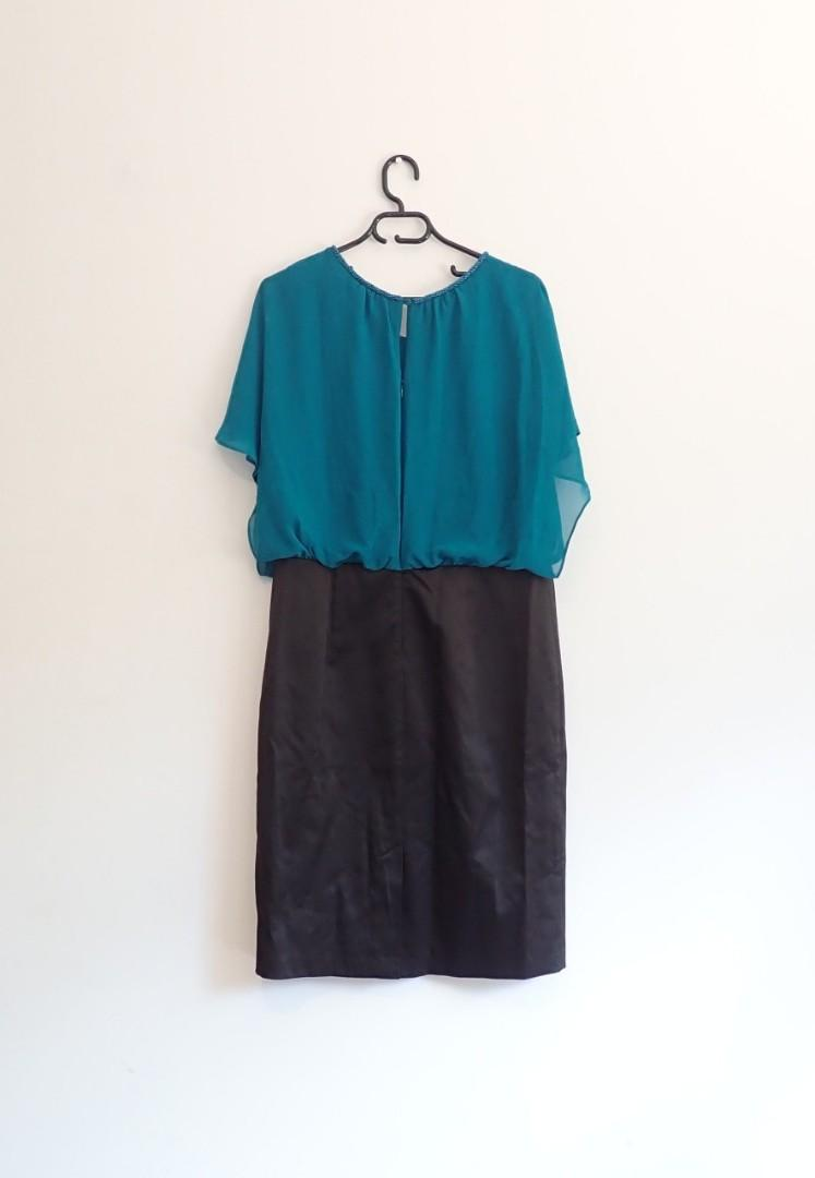 Diana Ferrari, size 14, teal and black formal/work dress