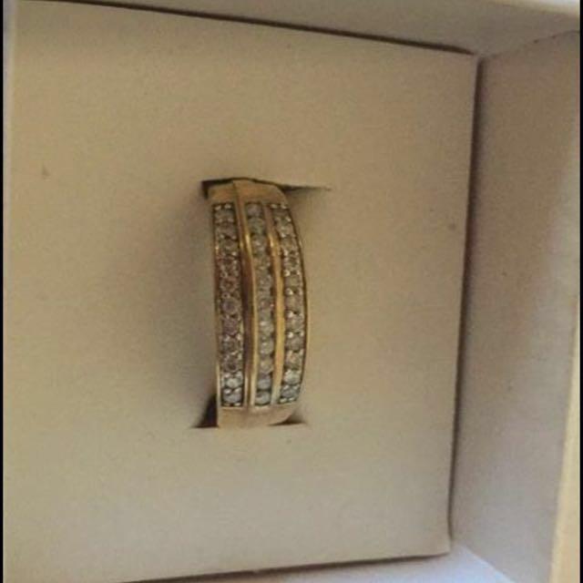 Half Carat 3 Row Diamond Ring