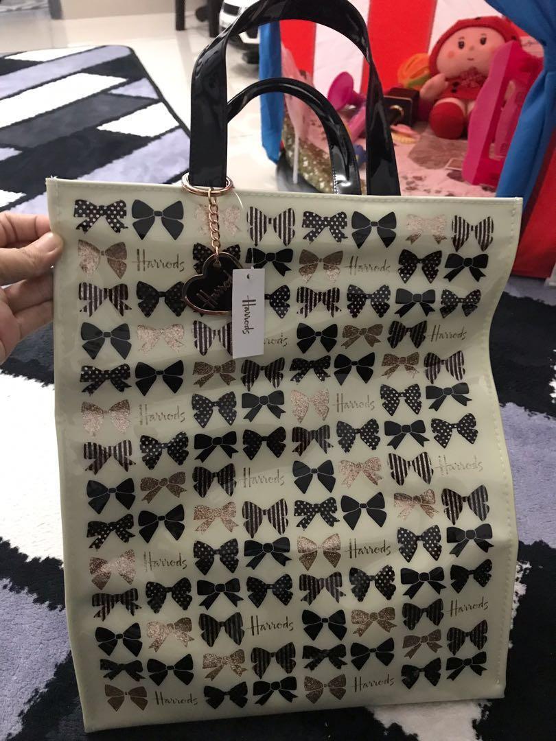 Harrods Glitter Bow Tote Bag