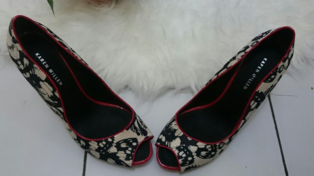 REPRICE KAREN MILLEN Sequined Peep-Toe Heels