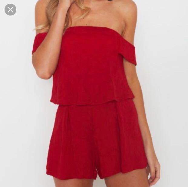 Red Playsuit - Off the shoulder