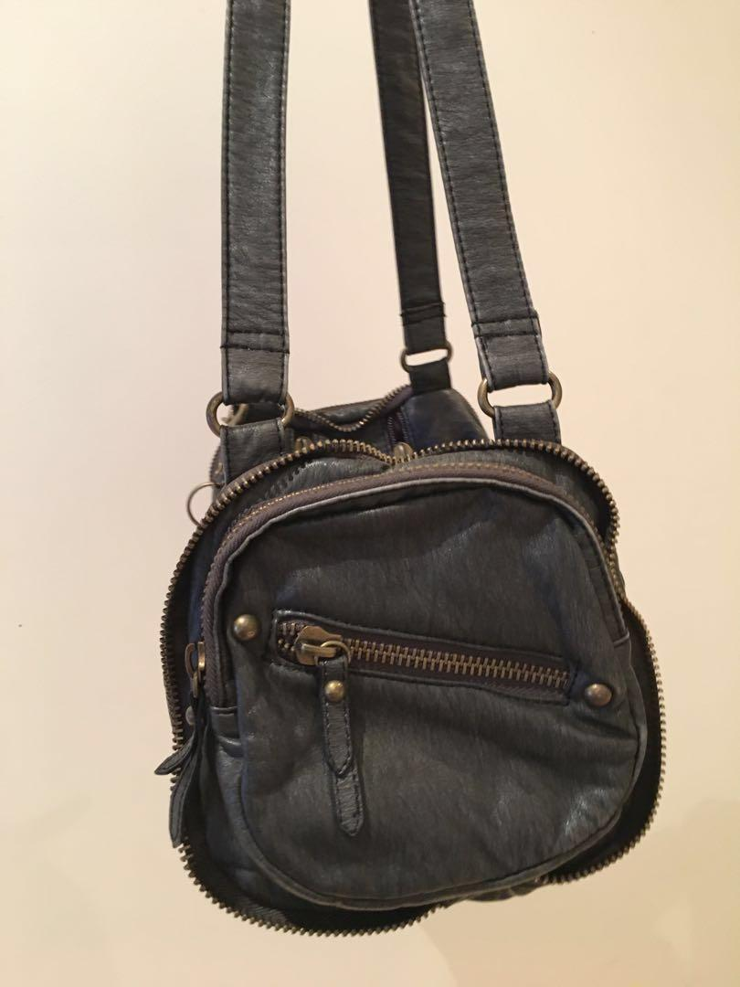 [REDUCED] TONY BIANCO Acid Wash Handbag With Zippers