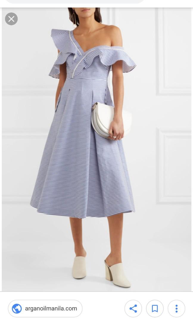 16ada56ae825 Self Portrait off shoulder blue striped midi dress (UK8), Women's ...
