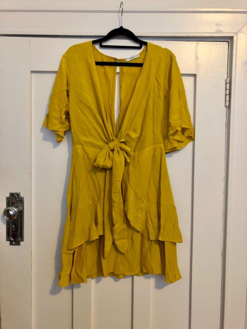 Sheike mimosa dress sz 10 - mustard yellow frill tie front dress