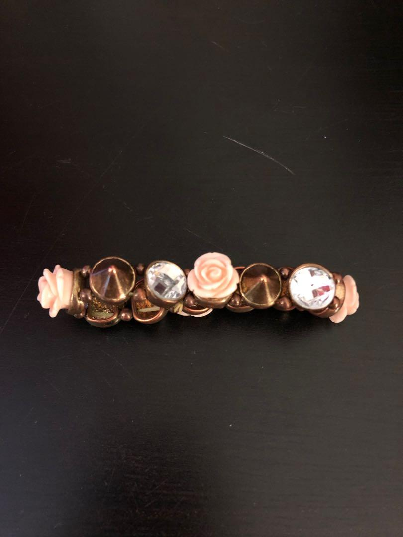 Stud, Diamond-Like & Flower Bracelet