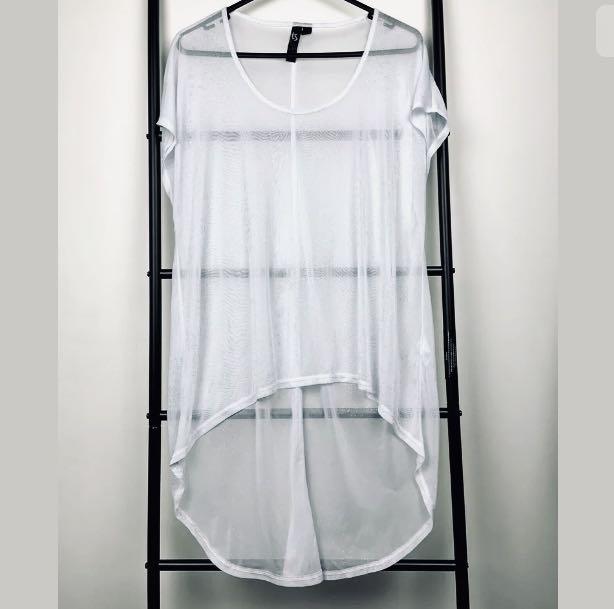 TS Taking Shape XXS/12 white silver glitter mesh sheer top shirt tunic plus size