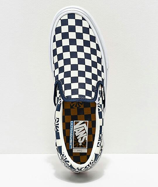 Vans x Independent Slip-On Pro Blue & White Checkerboard Skate Shoes ...