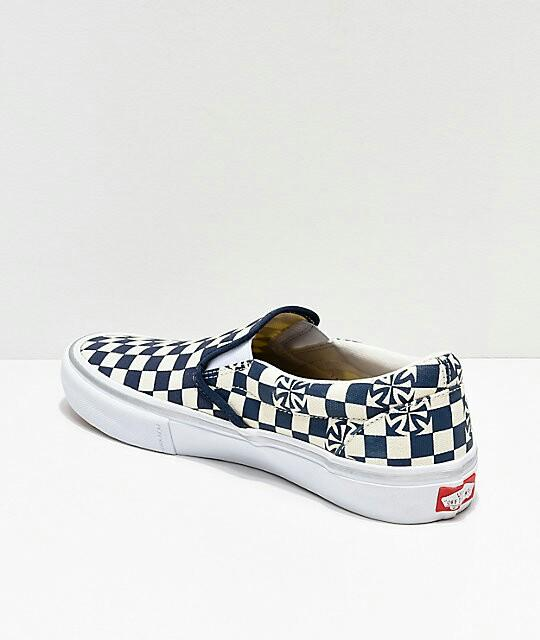Vans x Independent Slip-On Pro Blue & White Checkerboard ...