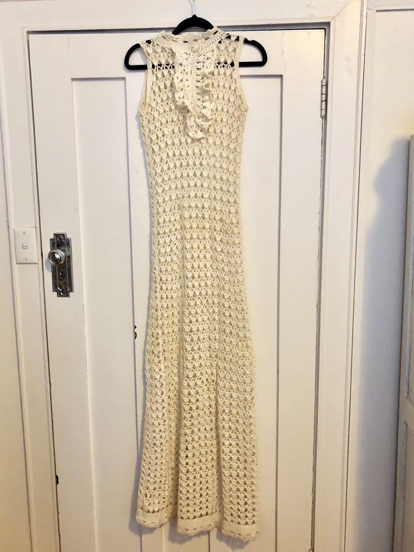 Vintage fully crochet maxi dress best suited sz 8/10