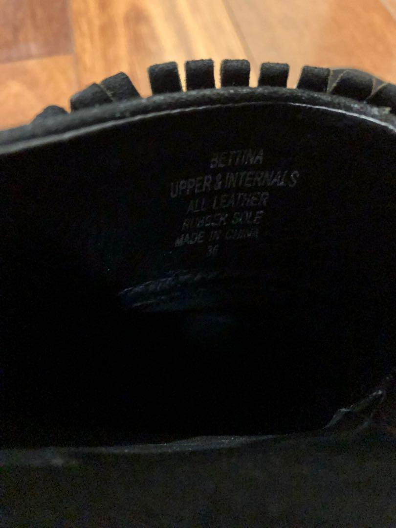 Wittner Black Suede Leather Bettina Mule Loafer Size 36