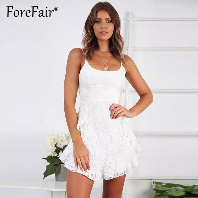 Women white mesh mini ruffle dress