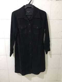 Casual suede long overcoat