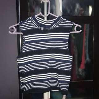 H&M Divided Striped Blue Top