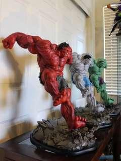 Sideshow 3x Hulk Comiquette (Green Red Grey) statues