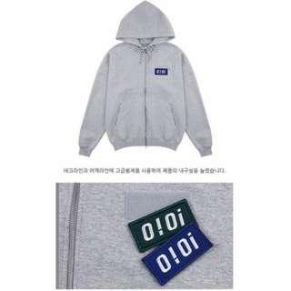 🚚 [SALE] 韓國品牌 O!oi o!oi logo point hood zipup_grey 灰色 連帽 外套 落肩