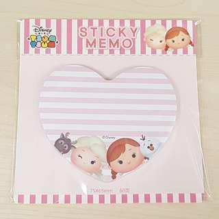 Disney Tsum Tsum Frozen Pink Colour Heart Shape Sticky Memo Writting Note Pad