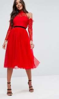 ASOS Premium Tulle Cold Shoulder Midi Prom Dress - Size 4