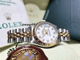 (Cert & Box) ROLEX DATEJUST Half gold Ladies- WHITE 10 BIG Diamonds Dial 69173