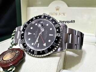 """ROLEX GMT MASTER 16700 Black Rare Original """"SWISS"""" marked dial. Highly collectible!"""