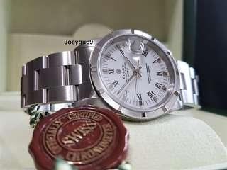 """ROLEX OYSTER Date Men White Roman 15210 - Nice Serial # of """"8"""" & """"9"""" only. No pinhole!"""
