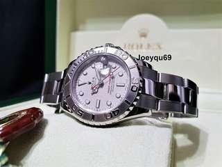 Ladies ROLEX YACHTMASTER Platinum bezel/dial Etching Crystal 169622