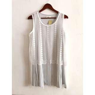 🚚 韓版流蘇罩衫 雪紡長洋背心洋裝成套2件式