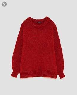 Zara red oversized sweater