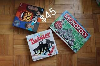 Monopoly, Speak out & Twister board games