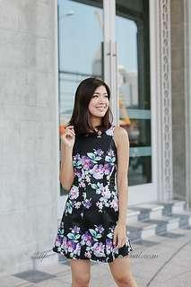 BN Aria Floral Seam Dress in Black Eternity Loft