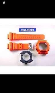100% Authentic new sealed Casio G-Shock GX-56-4 GXW-56-4 Orange King Band Bezel & Back Cover Set rare