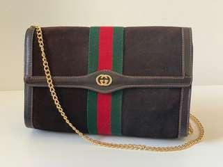 Authentic Gucci Brown Suede Leather Clutch