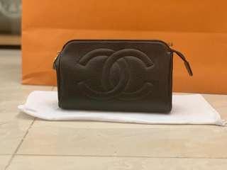 Authentic Chanel Black Caviar Leather Mini Case Pouch