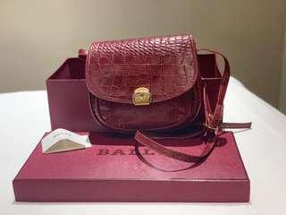 Authentic Bally Croc Embossed Sling Bag