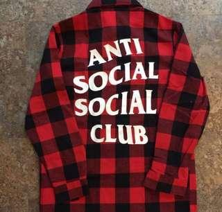 Anti anti social club flannel