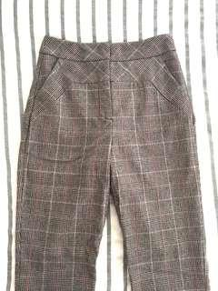 CUE Checkered Wool Pants