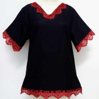💁Top black lace merah