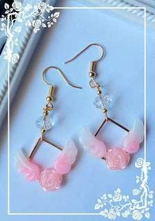 Pink Rose and Wings Earrings