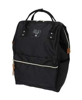 Authentic Anello Polyester Canvas Backpack - Black