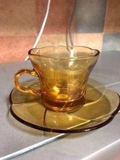 Vintage Aderia Amber Tea / Coffee cup set