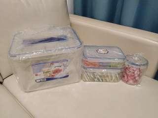 稻草屋密實食物盒1套4件(全新,未用過)