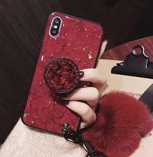 New iPhone X case with fur pom /strap