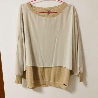 🚚 BNWT Cop.copine Glitter Champagne Gold Batwing Pullover
