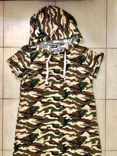 Camouflage Long Dress with Hood