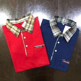 Polo Shirt Cotton - Navy & Red - Checkered Collar