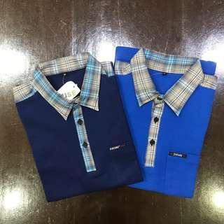 Polo Shirt Cotton - Blue & Navy - Checker Collar & Shoulder